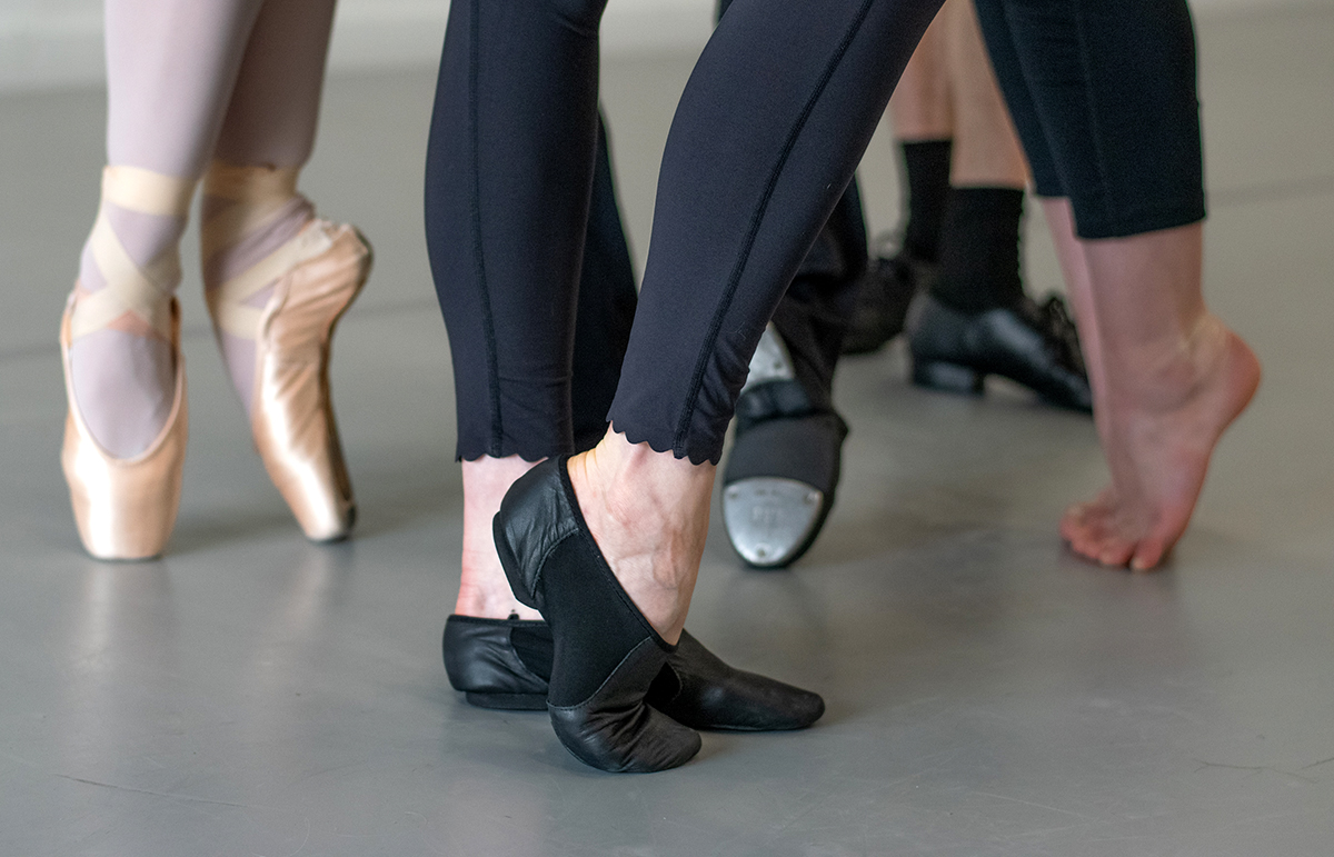 Dancers with different type of dance shoes practice on Rosco Marley Floor.