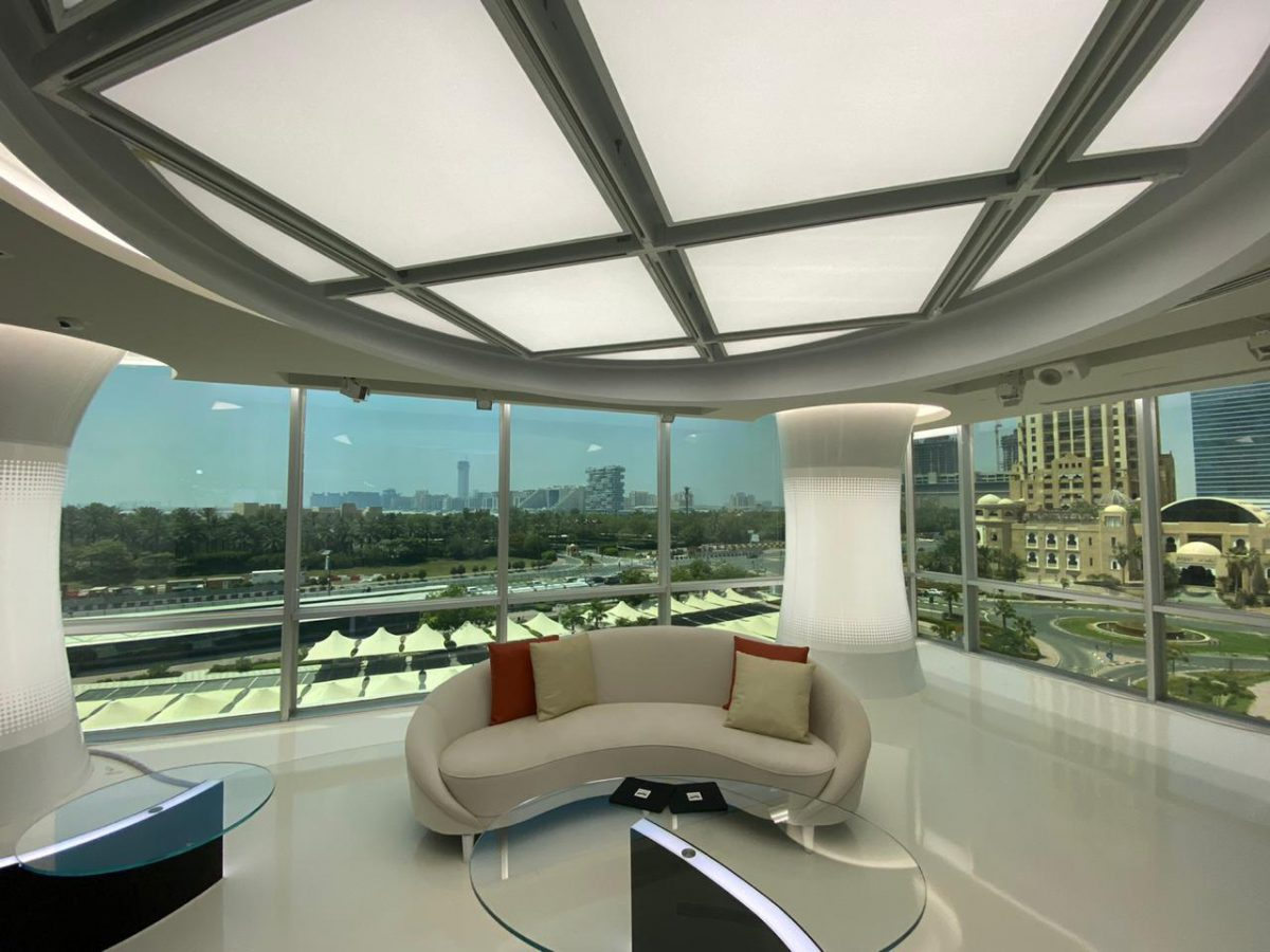 Braq Cubes & RoscoLED Tape provide flexible broadcast lighting inside the window interview set.