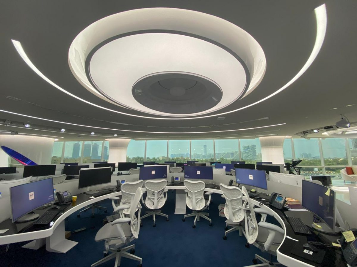 RoscoLED Tape integrated inside the ceiling swirl illuminate the editorial workspaces.