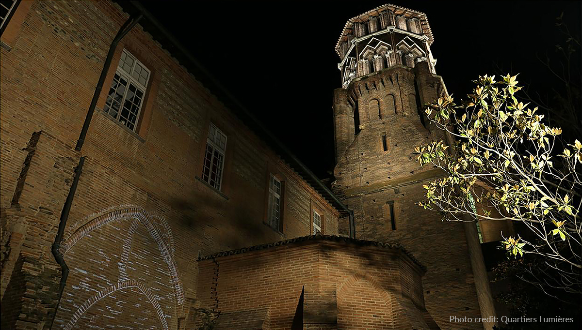 Gobo projections, subtle wall illumination and tower accent lighting enhance the museum's façade.