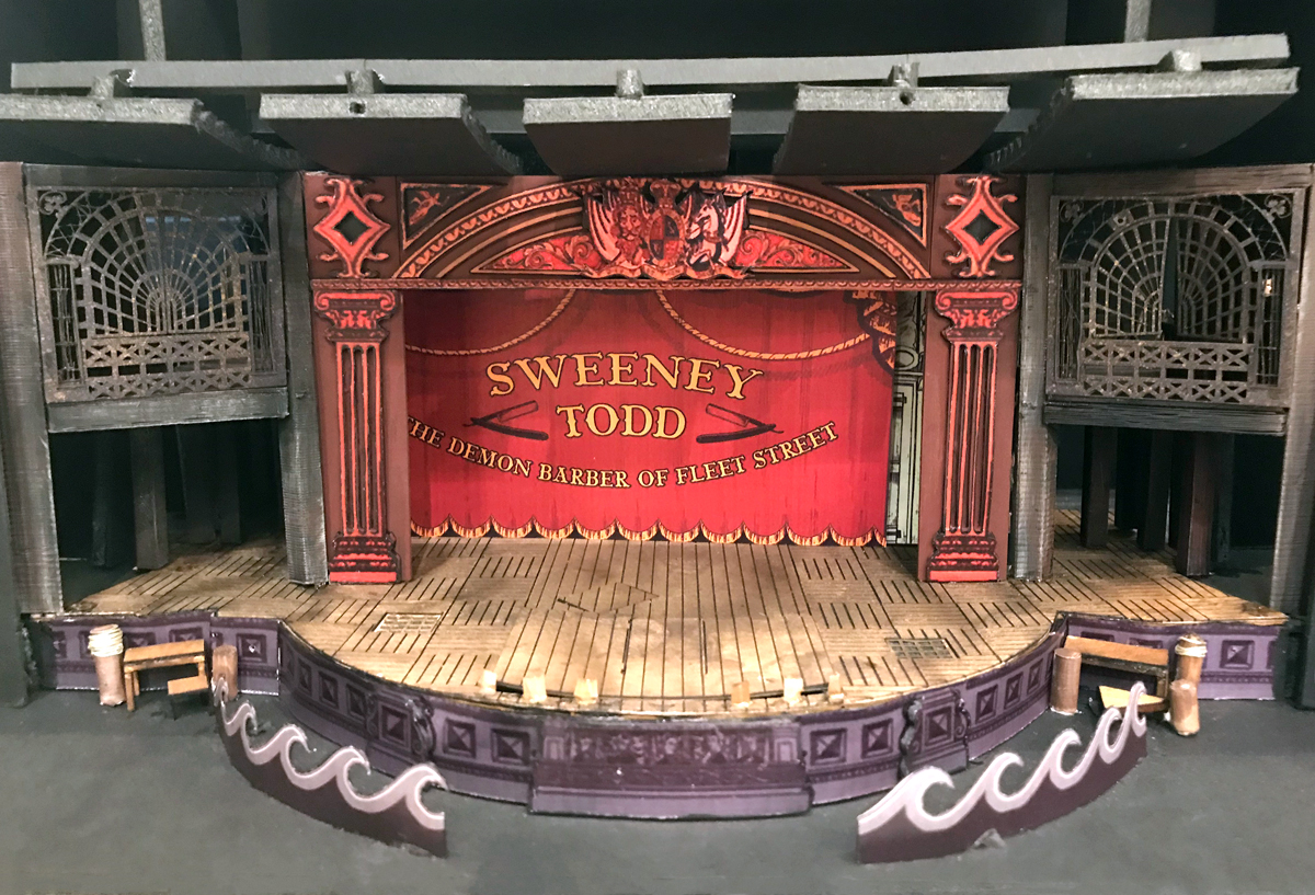 Sweeney Todd stage featuring planks before applying the wood graining tool.