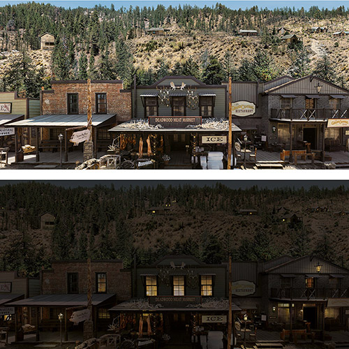 Rosco backdrop used in the film Deadwood: The Movie nominated for the 2020 ADG Award.