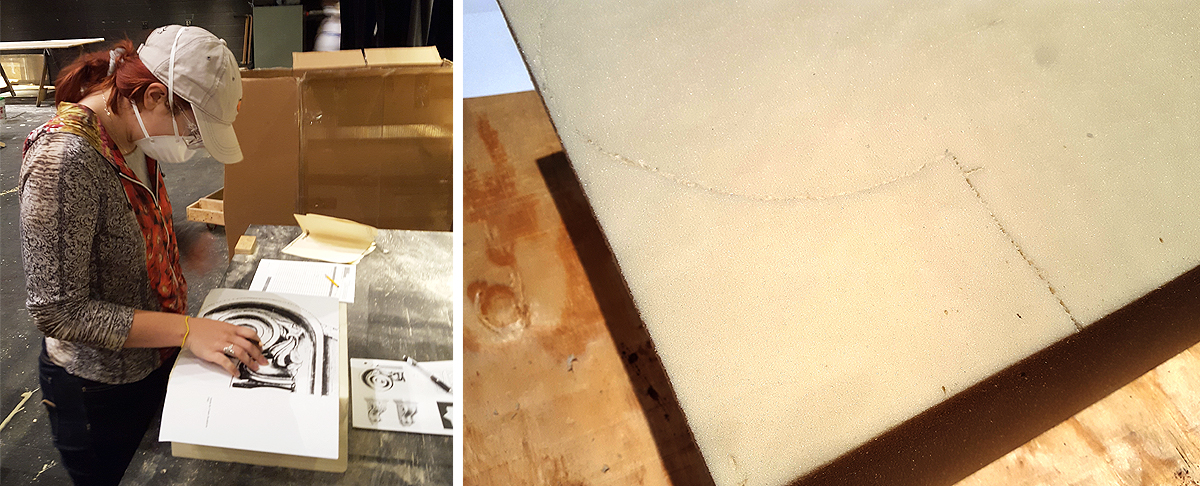 Student perforates the basic outline of the pattern into the foam.