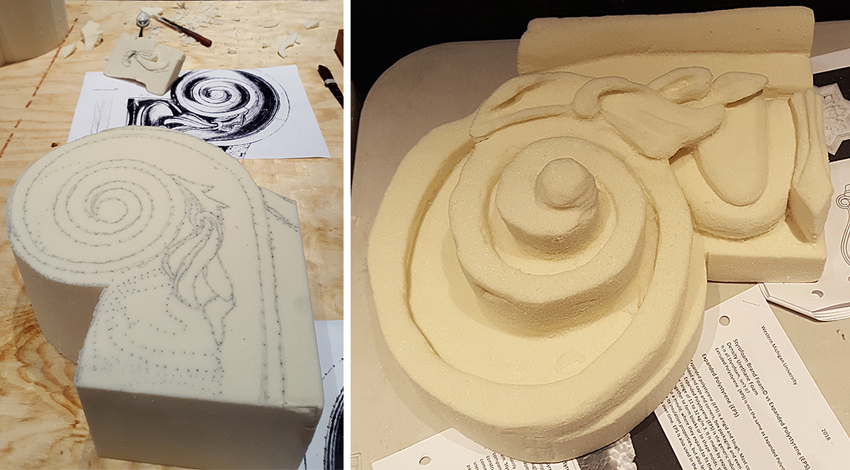 The cut piece before and after foam carving