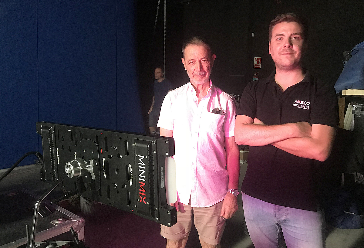 Cinematographer José Luis Alcaine poses with Rosco's Daniel Vozmediano on the set of Pain and Glory.
