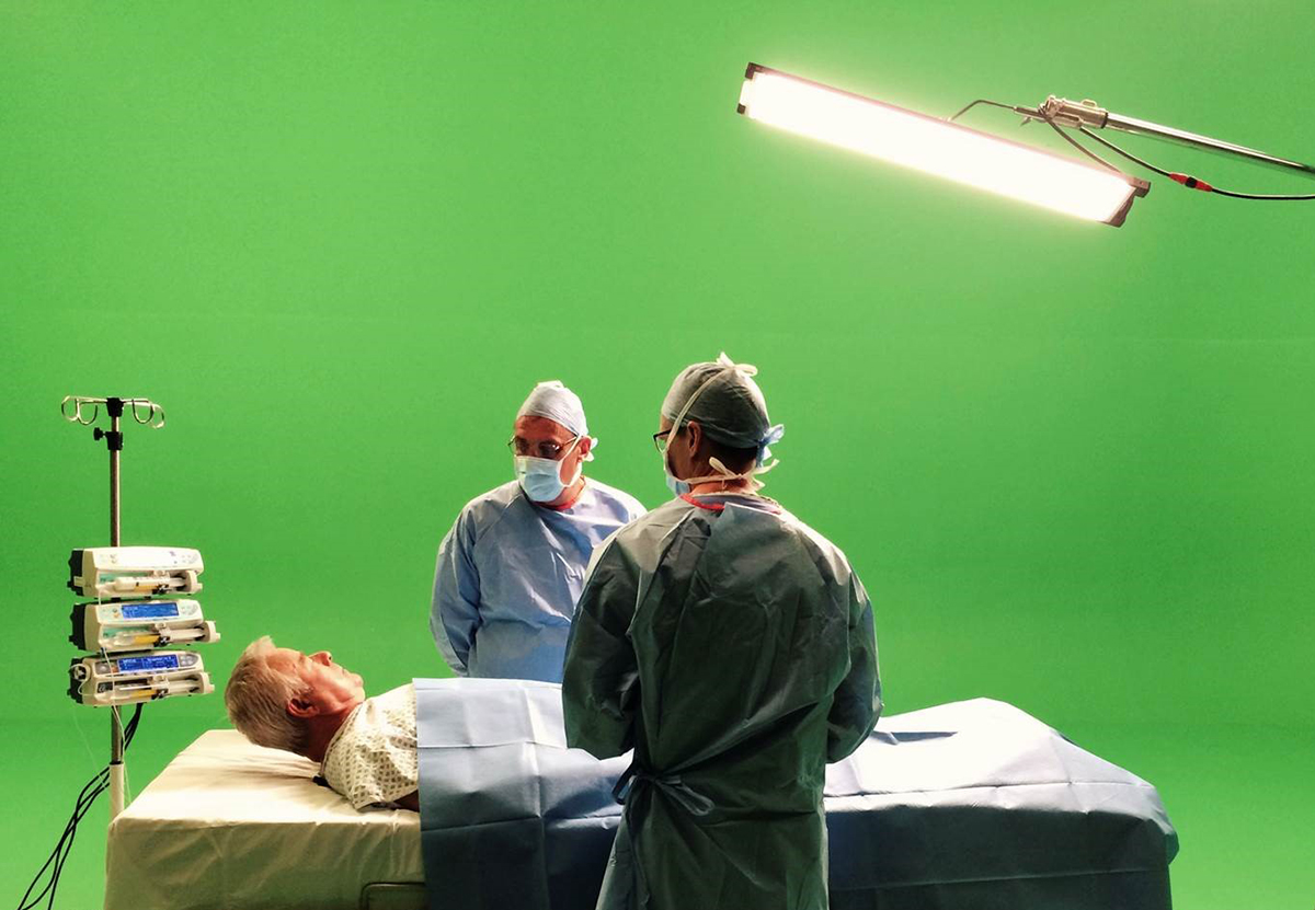 DMG Lumière SWITCH LED lights illuminate a hospital room scene with green screen background.
