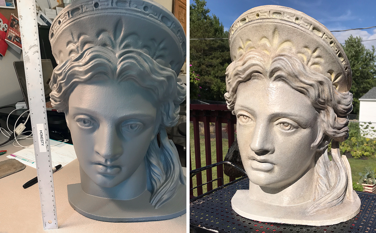 Sample head before and after applying Rosco paints & coatings.