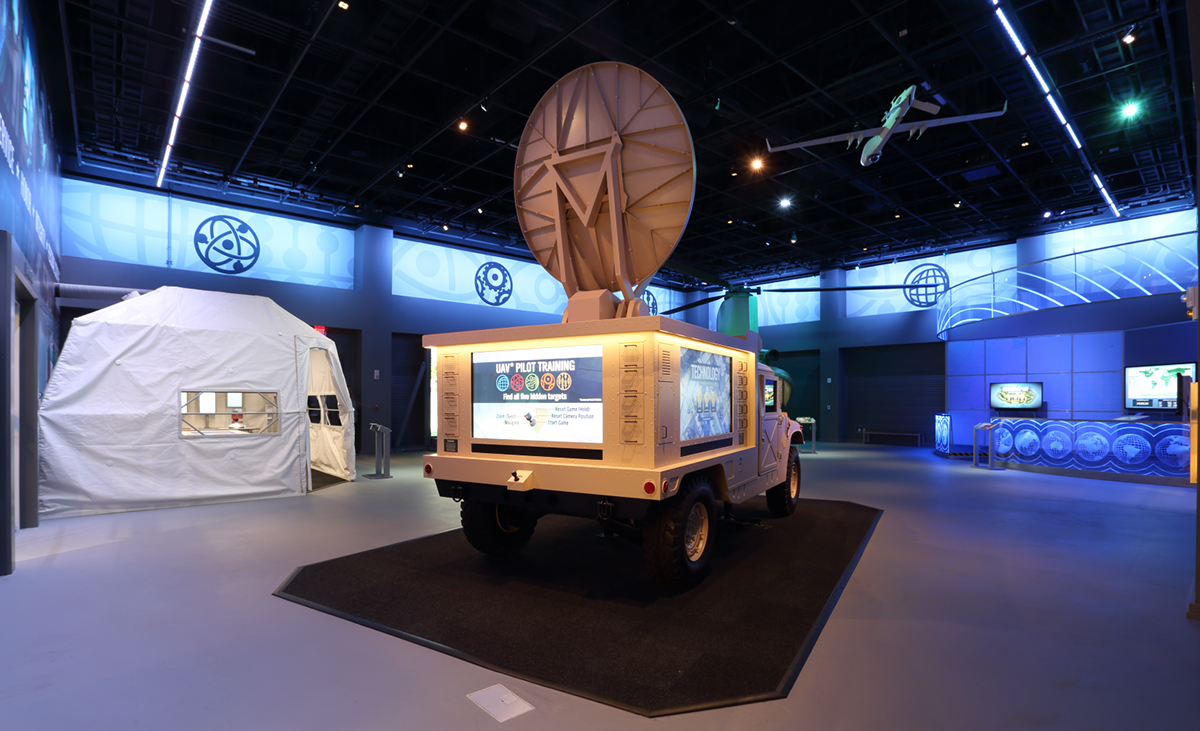 Rosco LED lights illuminate the HUMMVEE exhibit about the history of the U.S. Army.