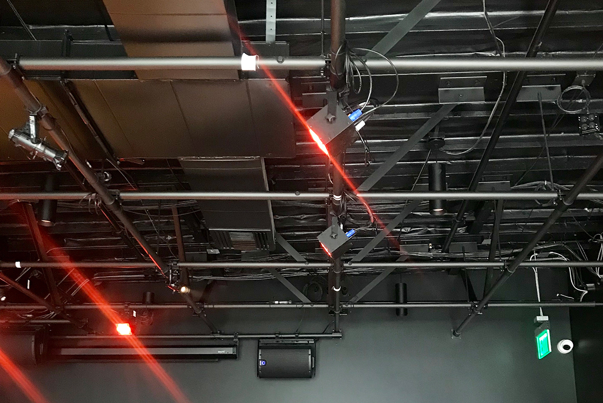 Braq Cubes installed as ceiling lights inside the Oxy Arts space.