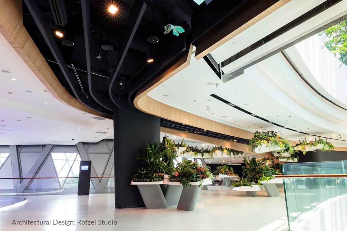 Miro Cubes WNC illuminate the Circulation and the Hanging Garden areas inside Changi Experience Studio.
