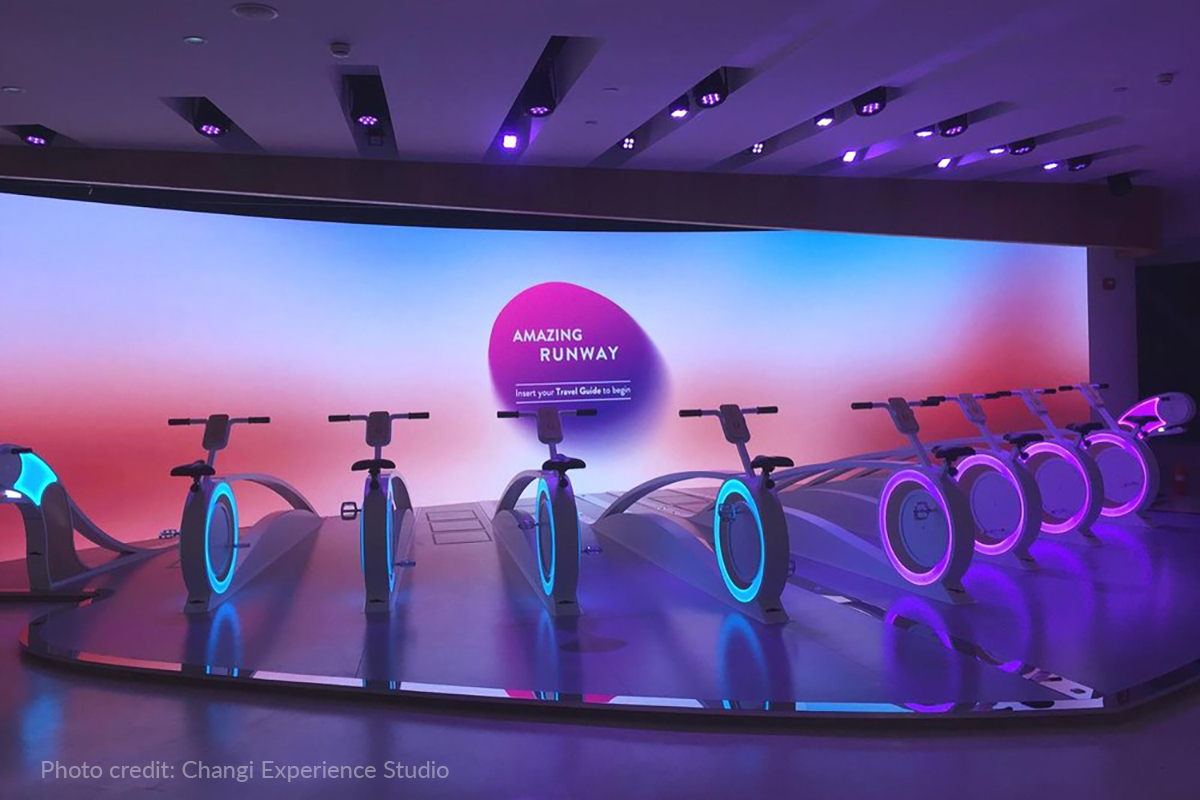 Miro Cubes 4C immerse the Amazing Runway cycling area inside Changi Experience Studio in bold purple colour.