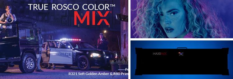Rosco MIX technology illuminating a film set and the face of the singer the Bonfyre.