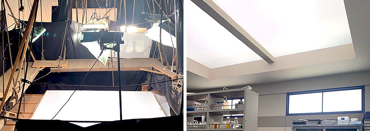 DMG Lumière LED fixtures provide toplight and window light inside The Woman of S.R.I. set.